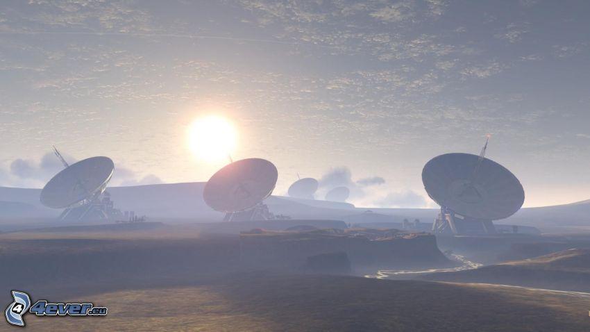 satellites, sunset