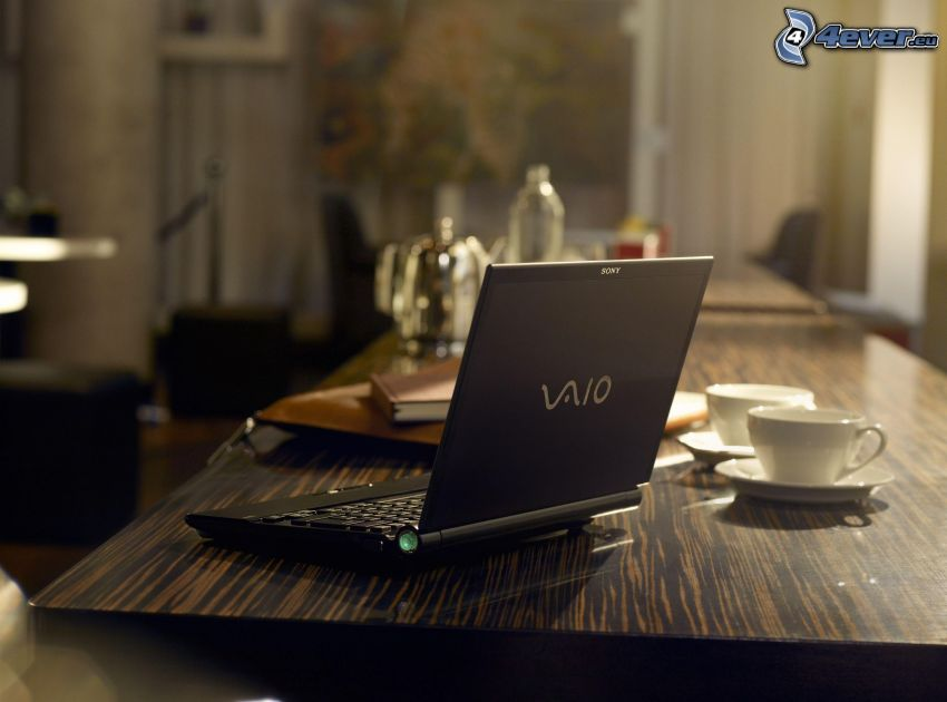 Sony Vaio, notebook, table, cups