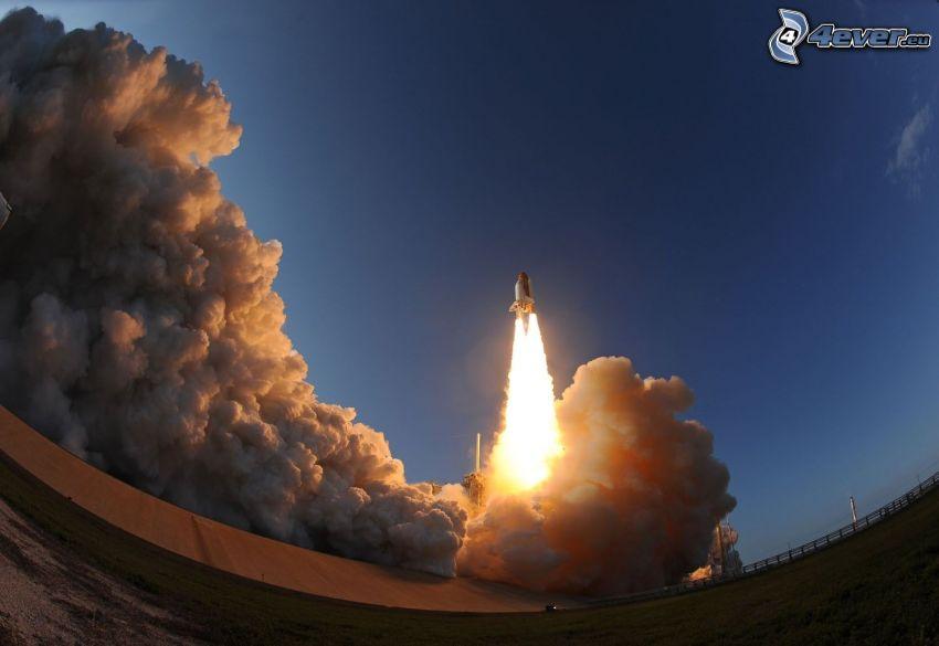 space shuttle start, smoke