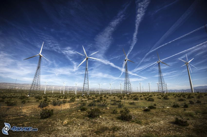 wind power plant, contrail, HDR