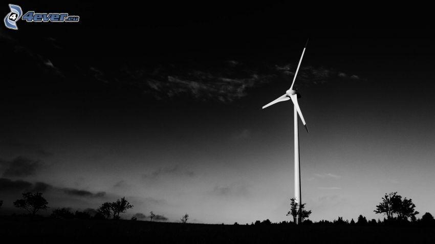 wind power plant, darkness