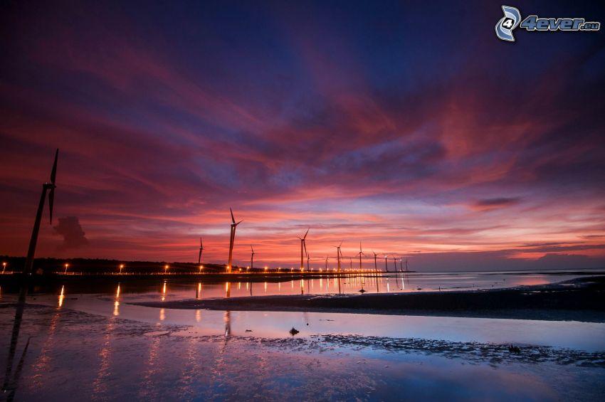 wind power plant, sea, evening sky