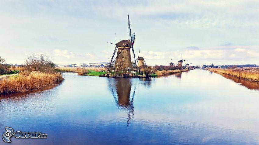 windmills, River