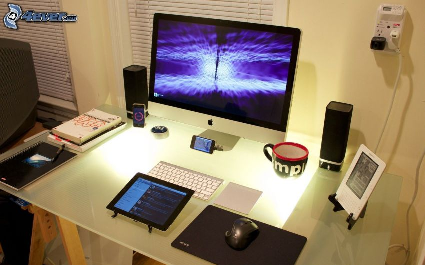 working table, computer, Apple, tablet, mouse