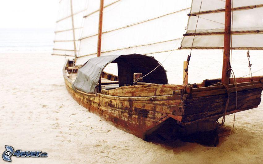 abandoned rusty ship, sailing boat