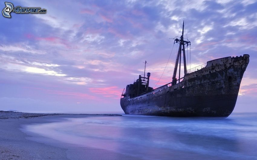 abandoned rusty ship, wreck, sea