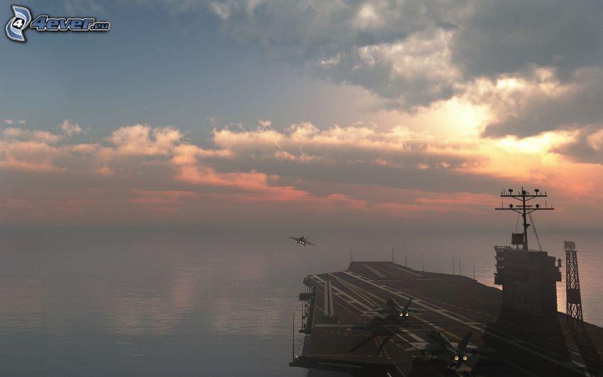 aircraft carrier, clouds