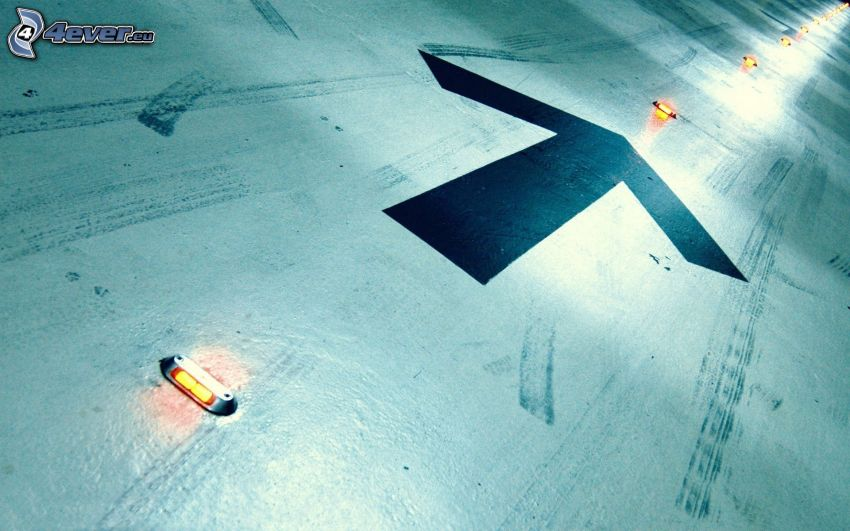 arrow, lights, road