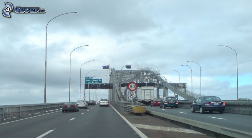 Auckland Harbour Bridge, highway, street lights