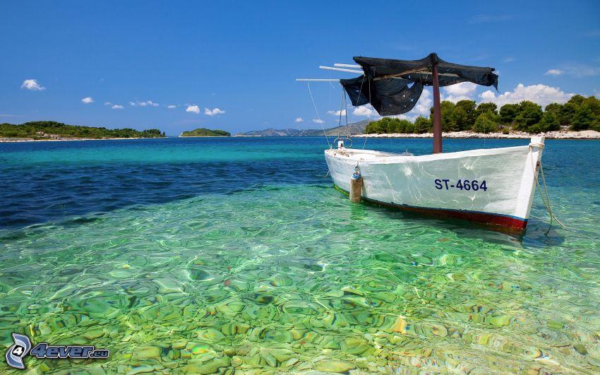 boat at sea, islands, azure sea