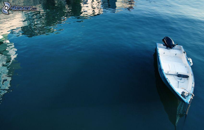 boat at sea, reflection