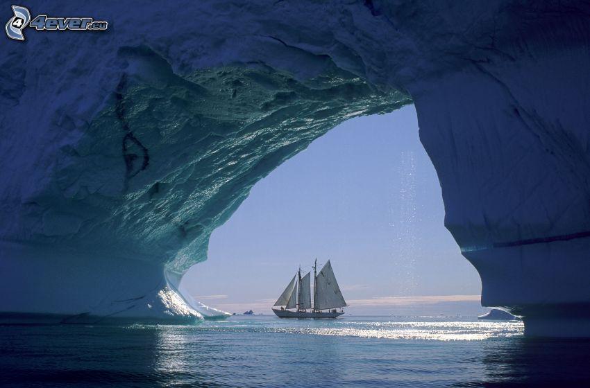 boat at sea, sailing boat, glacier