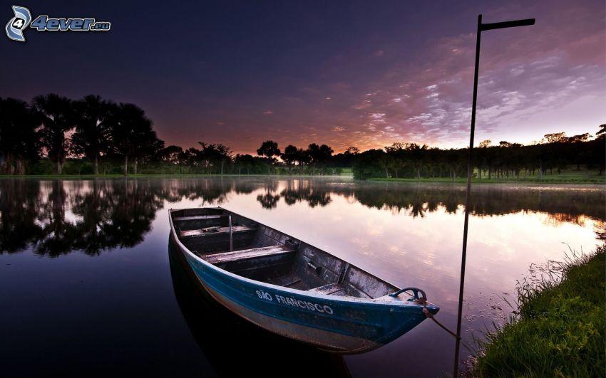 boat at shore, lake, evening sky, trees, reflection