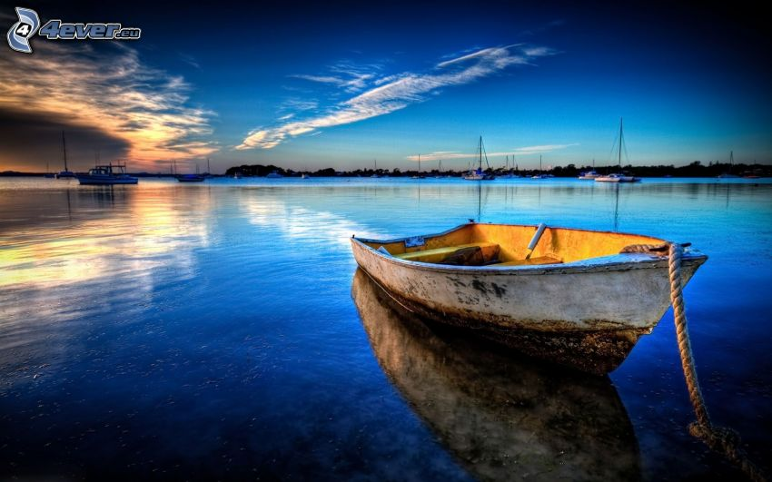 boat at shore, sea, evening sky