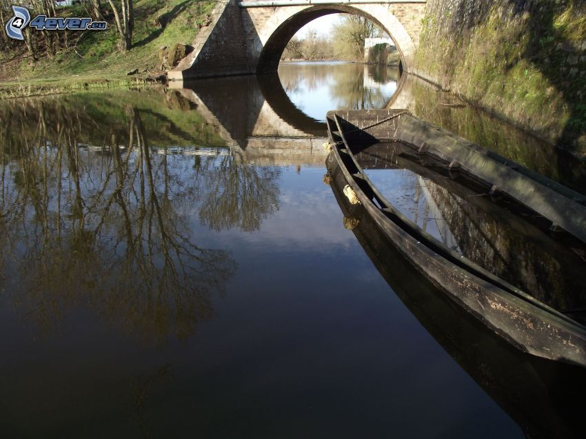 boat on the river, stone bridge
