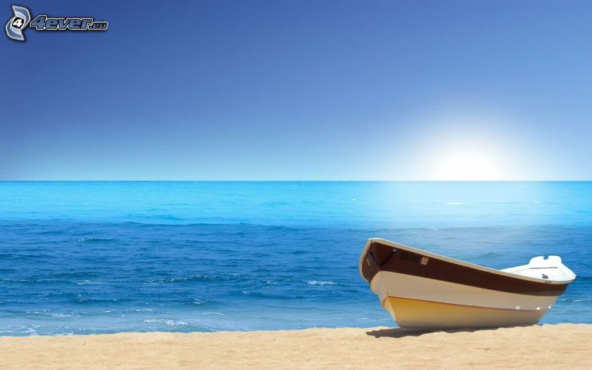 boat on the shore, open sea