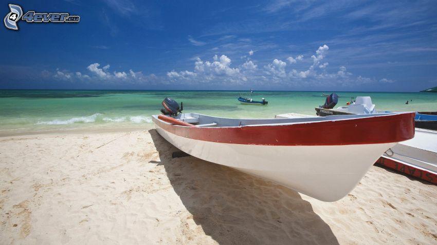 boats, beach, sea