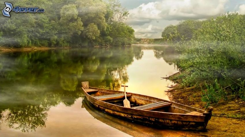 canoe, River, forest, reflection