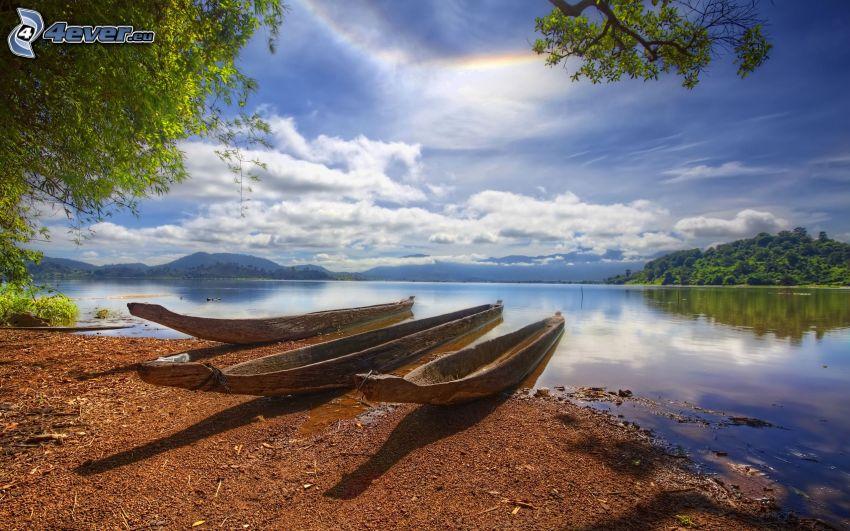 canoe, River, islands