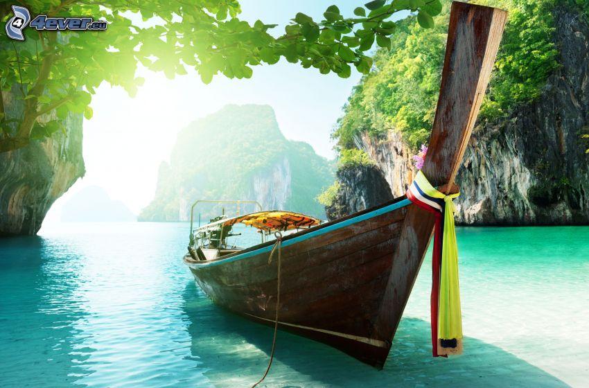 canoe, sea, rocks