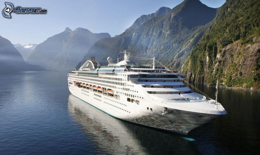 cruise ship, mountains