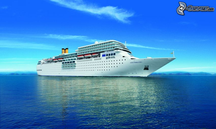 cruise ship, sea, sky