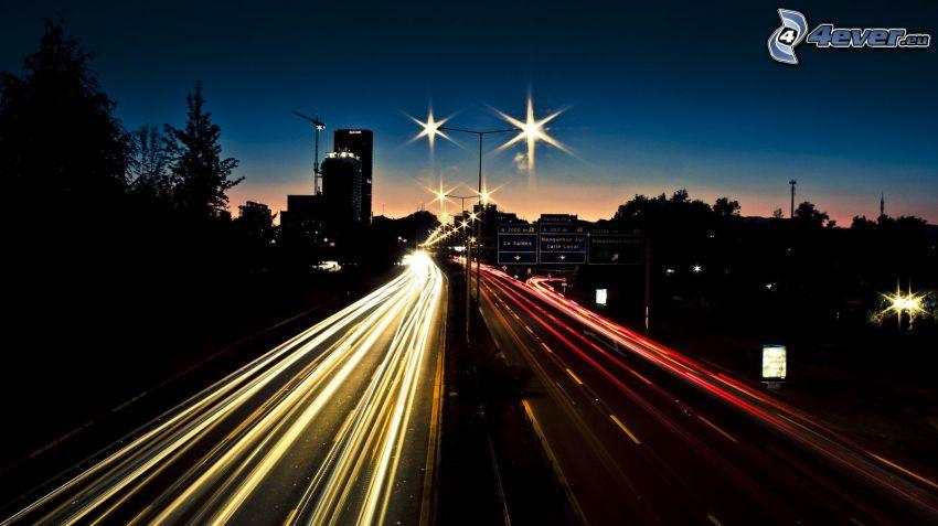 evening highway, lights, night city