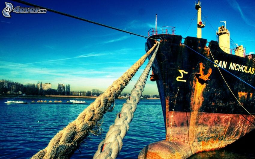 freighter, harbor, sea, rope