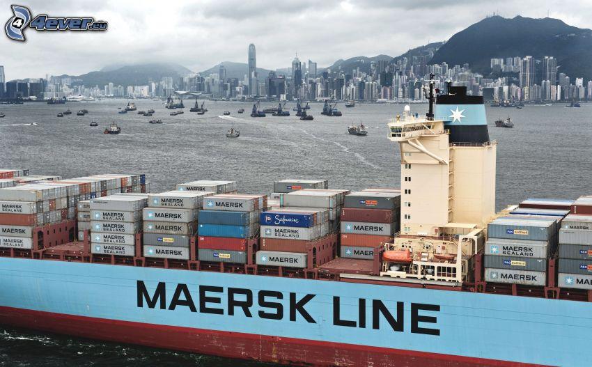 freighter, Maersk, Shanghai
