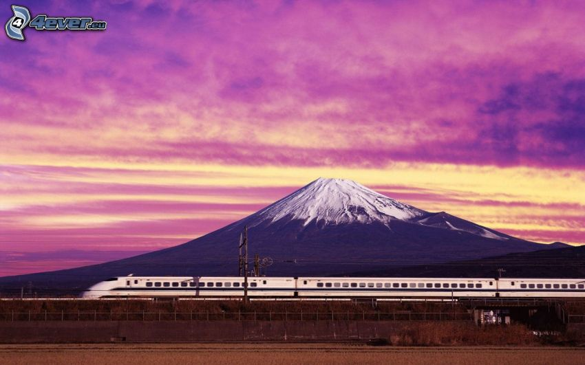 high speed train, mount Fuji, Japan