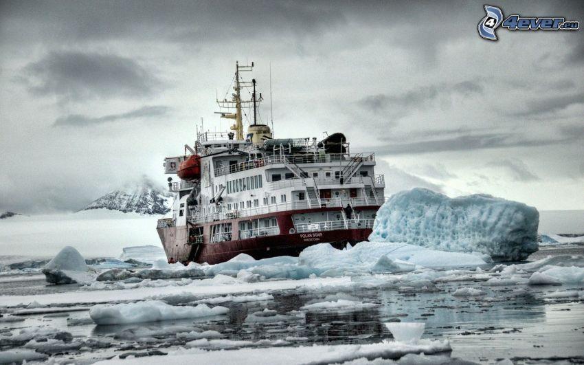 icebreaker, ship, ice floe
