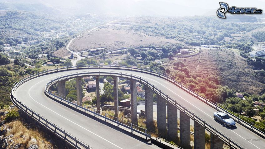 Jaguar C-X16, road, bridge, valley
