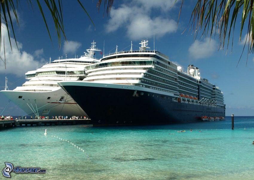luxury ship, cruise ship, azure sea