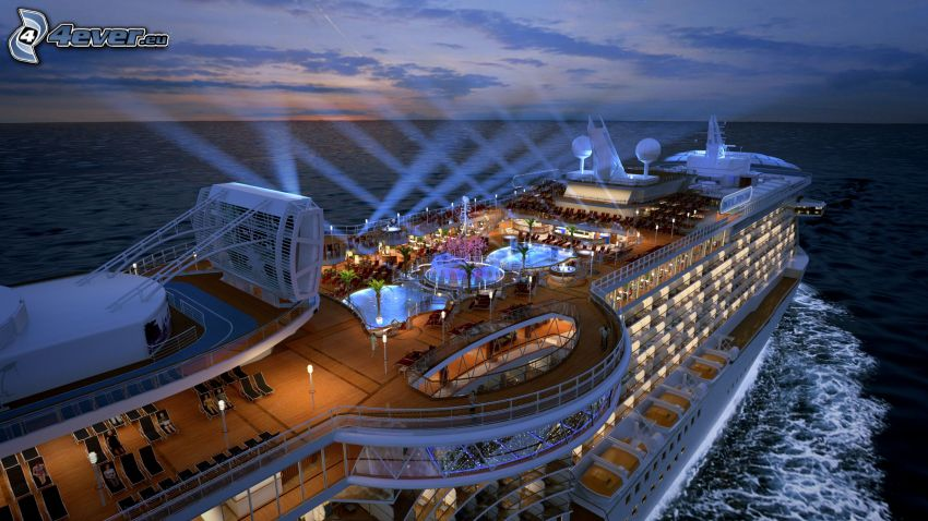 luxury ship, lights, pool, open sea