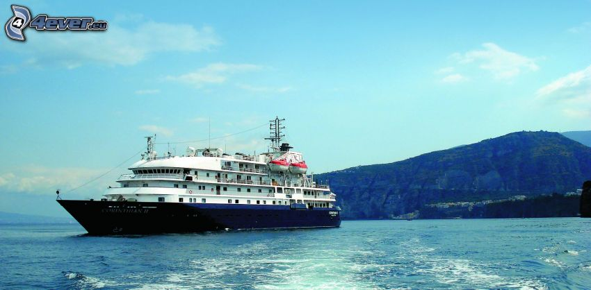 luxury ship, sea, mountain