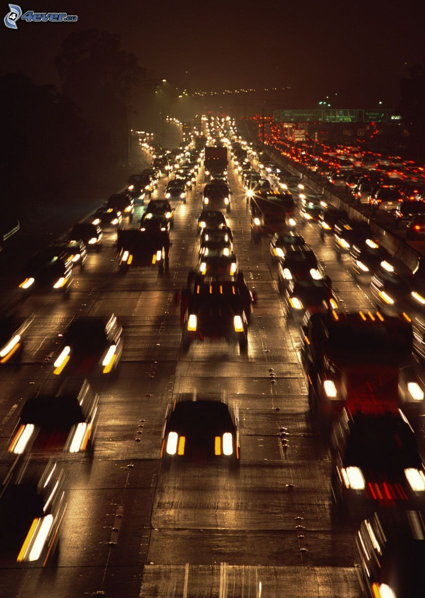 night highway, traffic jam