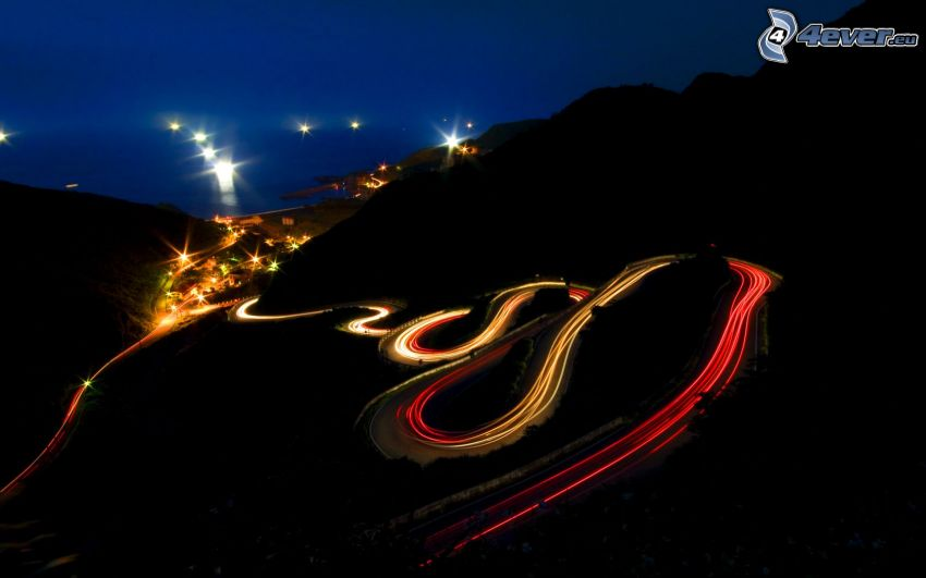 night route, hairpin turn, road curve, night