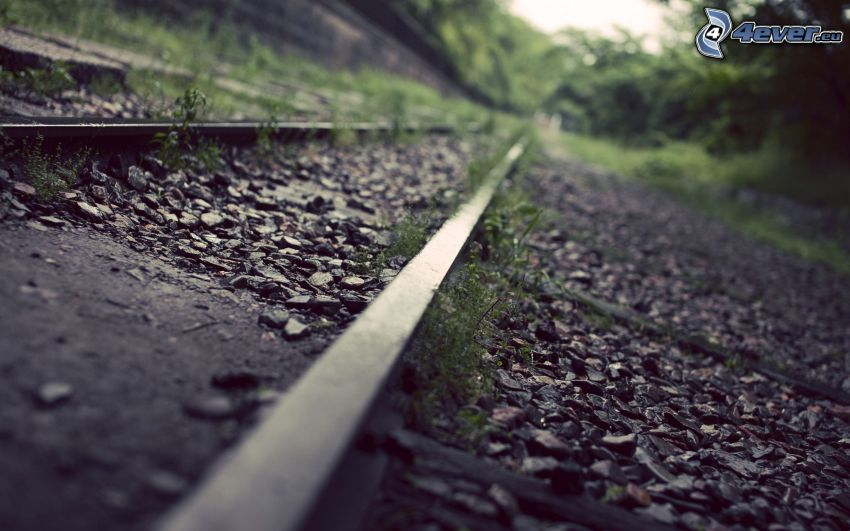 old rails, rocks