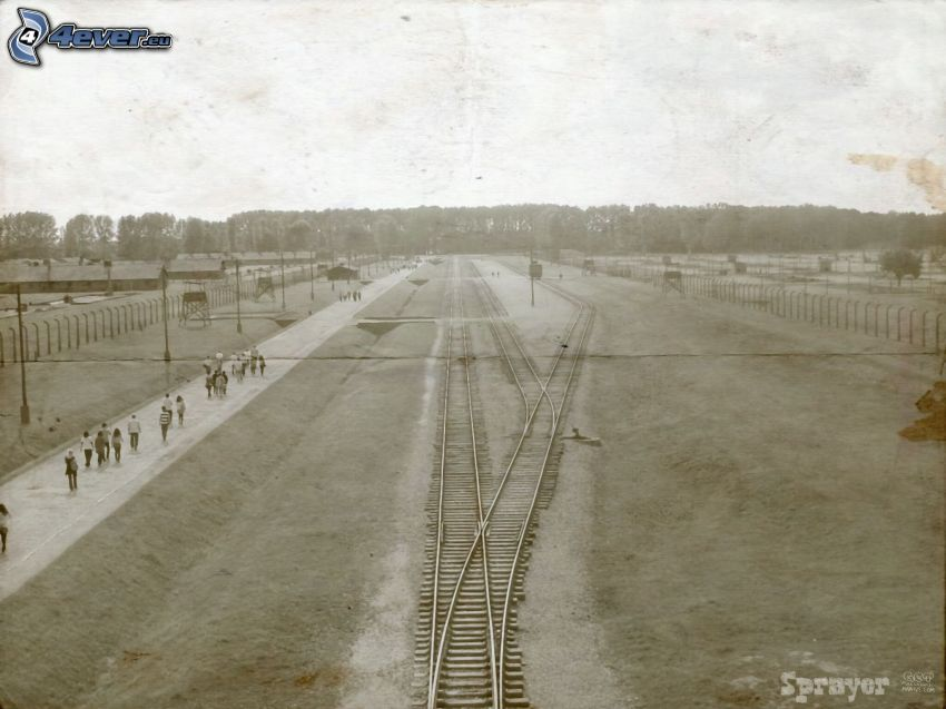 Oświęcim, concentration camp, railway, old photographs