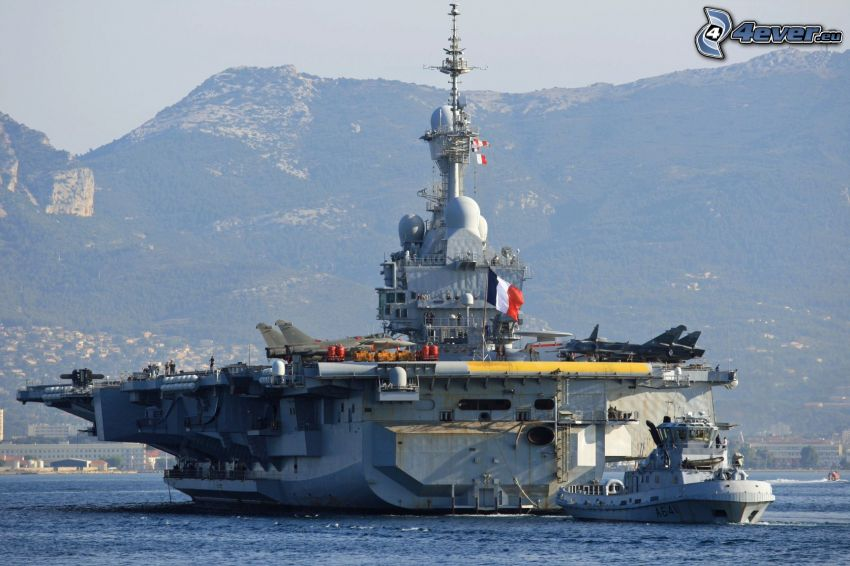 R91 Charles de Gaulle, aircraft carrier, mountain