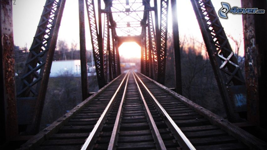 rails, railway bridge, sunset