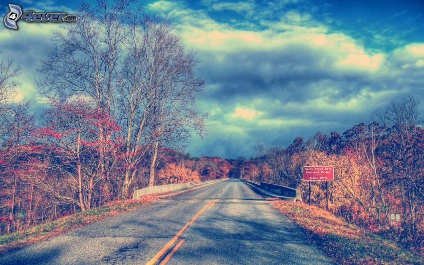 road, bridge, trees, sky, clouds, HDR, USA