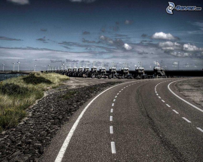 road, dam, Netherlands