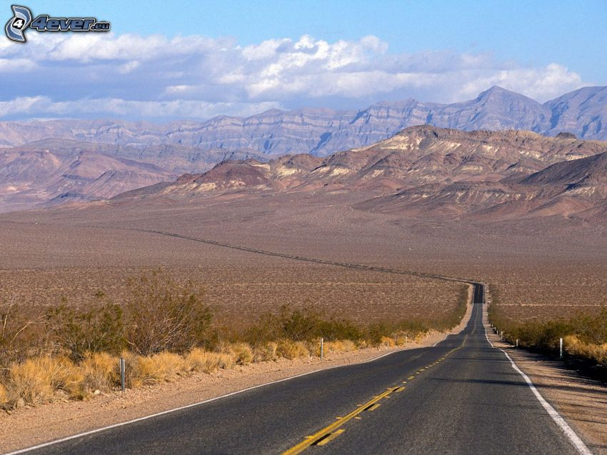 road, Death Valley, mountains