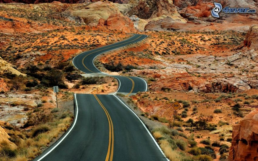 road, desert, USA