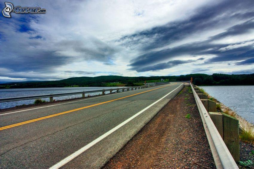 road, lake, mountain, sky