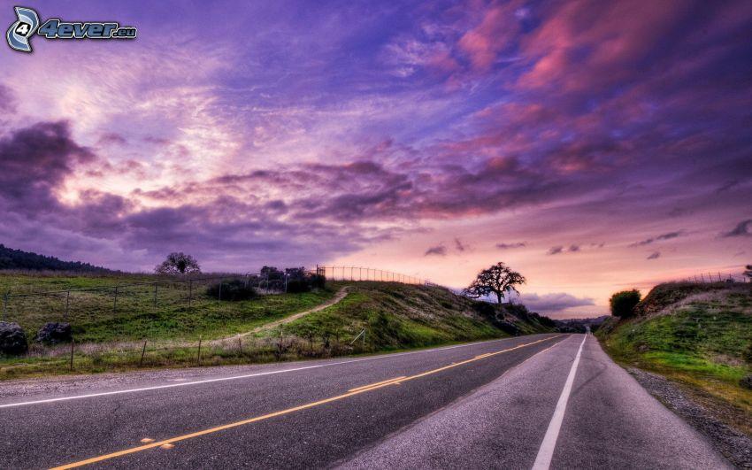 road, meadow, purple sky, HDR