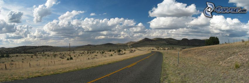 road, mountain, clouds, panorama