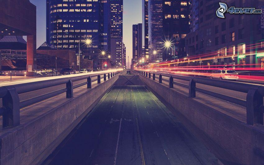 road, night city
