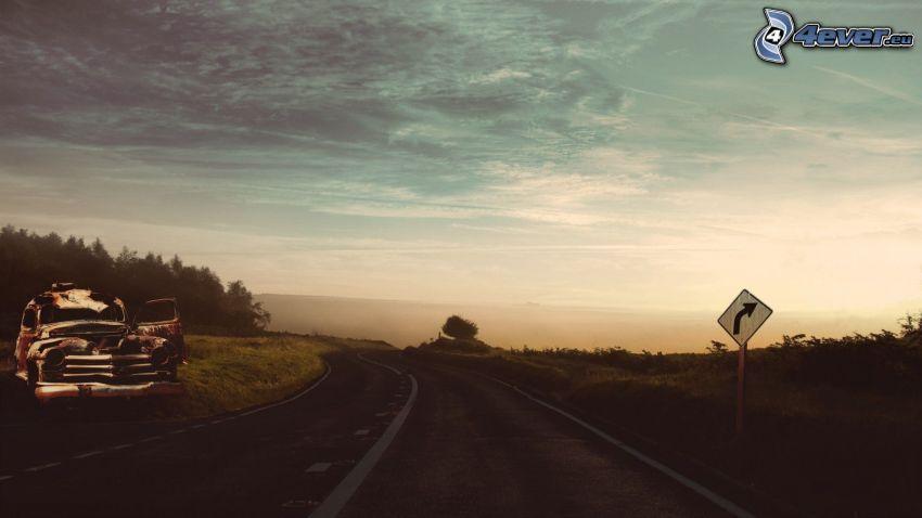 road, wreck, road sign